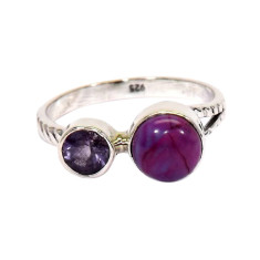 Sugilite and amethyst ring