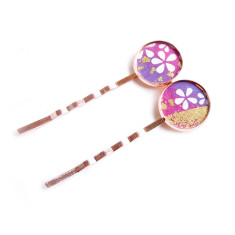 Rose gold Japanese chiyogami bobby pins in petal