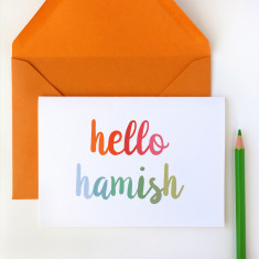 Personalised 'Hello' New Baby Card