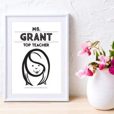 Personalised teacher caricature art print