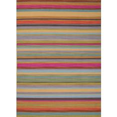Rainbow stripes handmade flat weave wool rug