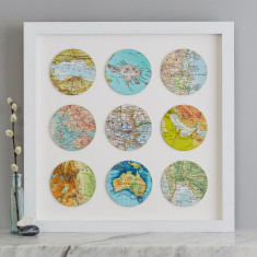 Nine Map Circle Personalised Wedding Anniversary Print