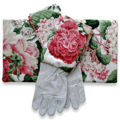 Gardeners kneeling pad & gloves in fuschia blooms