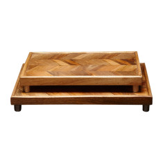 Chevron wooden tray
