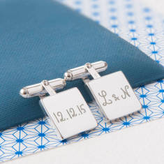 Men's personalised sterling silver square cufflinks