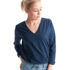 Long Sleeve V Tee in Vintage Navy