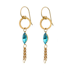 Fine brass and turquoise vintage glass chain tassel earrings