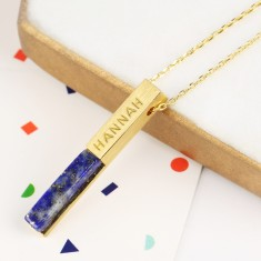Personalised Gold and Lapis Bar Necklace