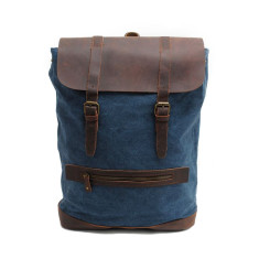 Blue canvas backpack laptop bag travel bag