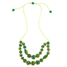 Eloquence artisan double edge necklace in zest