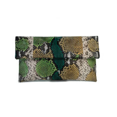Forest motif python leather classic foldover clutch bag