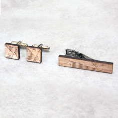 Square geometric cufflinks & tie clip set