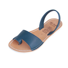 Costa velvet leather sandals in navy