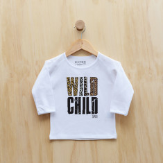 Wild child personalised animal print long sleeve t-shirt