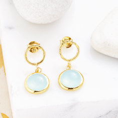 Jaisalmer Stud Earrings In Aqua Chalcedony