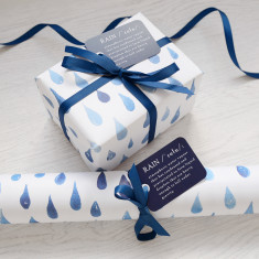 Blue rain watercolour gift wrap set