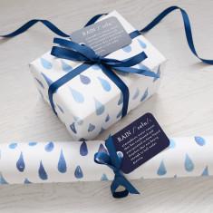 Blue rain watercolour gift wrap set