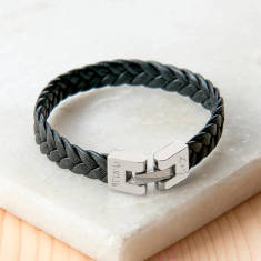 Personalized Leather Braided Bracelet with Engraved Clasp