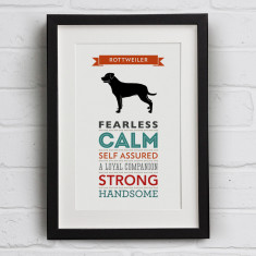 Rottweiler Dog Breed Traits Print