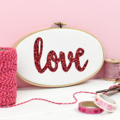 Love Glitter Embroidery Hoop