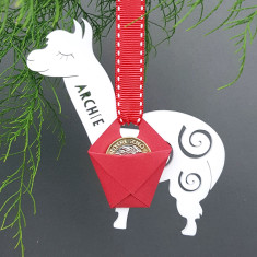 Personalised Christmas Alpaca Carrier Ornament