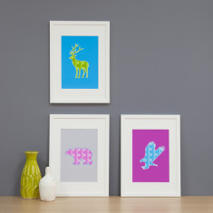 Wild animals framed art print (set of 3)