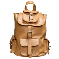 Unisex 13 inch Adair leather backpack in camel