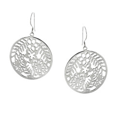 Round sterling silver cut out design earrings.