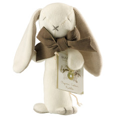 Bunny organic cotton stick rattle