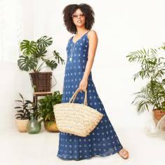 Maite v-neck sleeveless linen midi dress in blue white spot print