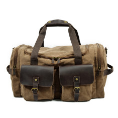 Canvas Weekend Duffle Bag In Brown