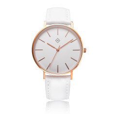 Engraved women's watch with interchangeable leather band (white & rose gold)