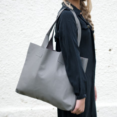 Grey Leather Poppins Bag