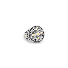 Zahara Sterling Silver and 18K Gold Filigree Round Ring