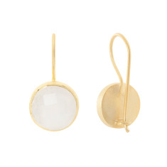 Cupcake Larger Drop Earrings In Gold Plate With Moonstone