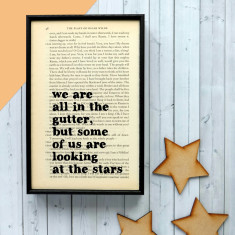 Oscar Wilde we are all in the gutter inspirational quote print