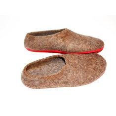Women's felt slippers in eco brown (various sole colours)