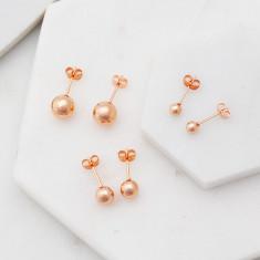 Lovely little bauble stud earrings in high shine rose gold