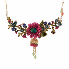 Pink Flower And Turquoise Blue Rhinestone On A Branch Of Flowers' Buds Necklace