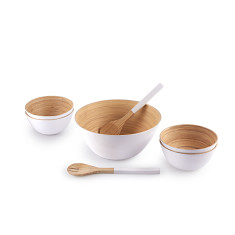 Bamboo Bowl 7 Piece Serving Set in White
