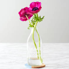 Personalised 'Homegrown Blooms' Milk Bottle Vase