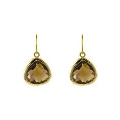 Golden brown love earrings