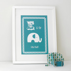 Personalised E is for elephant child's letter print