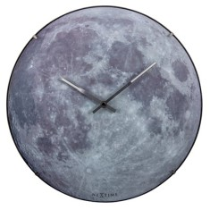 The Moon glow in the dark Luminous wall clock 35cm glass domed