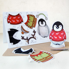 Dress Up A Penguin Christmas Card