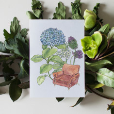 Pack of 4 Lounge Chair Flower Watercolour Illustration Greeting Cards