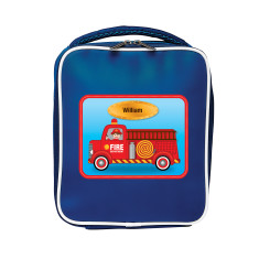 Personalised fire engine lunch bag