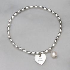 True Friends Never Leave Your Heart Engraved Bracelet
