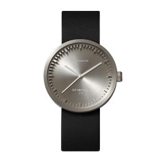 Leff Amsterdam tube watch D38 with black leather strap steel finish