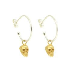 Gold Contrast Calvariam Skull Hoop Earrings